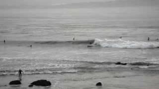 Pro Surfer rips down low tide wave