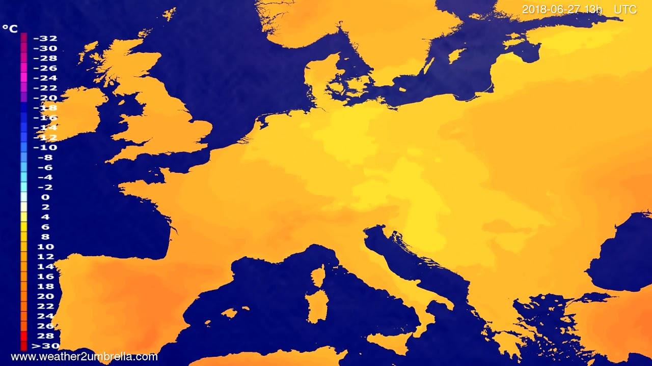 Temperature forecast Europe 2018-06-24