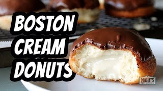 The time has come to make vegan Boston Cream doughnuts! These are soft puffy doughnuts, covered with rich chocolate glaze...