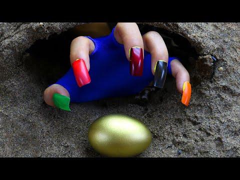 Stop Motion ASMR - The Golden Egg Food Primitive Cooking exotic Mukbang IRL Recipe 4K   Cuckoo