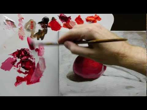 painting cherries - http://www.willkempartschool.com How to paint an acrylic still life painting, step-by-step free video series with professional artist Will Kemp. Part 3 Click...