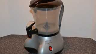 We bought this cool looking Cocoa Latte Machine either at a thrift store or a garage sale.  I was going to do a review on it but in the course of internet research (to get the manual) I found that it had been recalled due to potential lead leeching from a bushing inside the container.  So this is trash.  If you have one of these, go online and make sure you don't have one of the affected Serial Numbers with the dangerous bushing.Good Luck