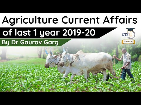 Agriculture Current Affairs of Last 1 year 2019-20 for NABARD/ICAR by Dr Gaurav Garg