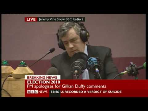 Gordon Brown - Gordon Brown caught on Sky News microphone describing Labour voter as bigot (a microphone his team requested be attached to his lapel). Close the door on you...