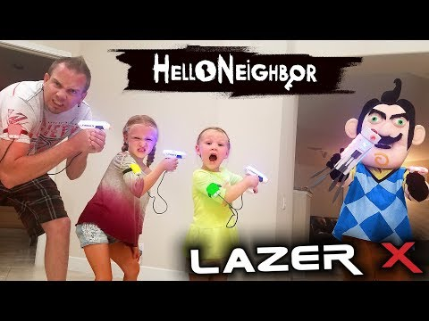 Hello Neighbor in Real Life! Us vs Hello Neighbor in Laser Tag Toys Battle!! We Kick Him Out! (видео)