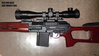 REVIEW OF UTG PRO MODEL 47 QUICK RELEASE AK SIDE MOUNT RAIL. MOUNTED ON A MOLOT VEPR 308 WITH SVD DRAGUNOV STOCK. Subscribe muffugas.