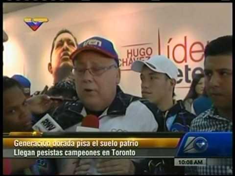 Ministro recibe a los pesistas venezolanos