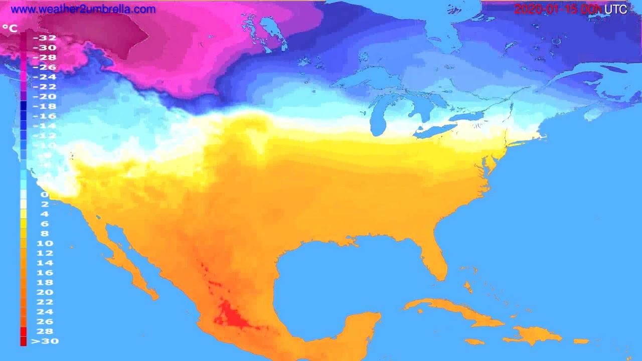 Temperature forecast USA & Canada // modelrun: 00h UTC 2020-01-14