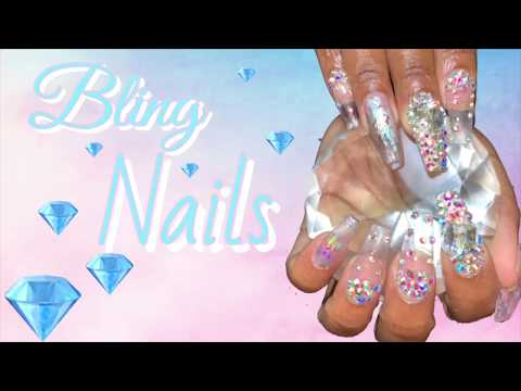 Bling Nails  Clear Coffin Nails Acrylic Nails Design