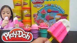 Play doh Es krim Mainan anak - Play Doh Ice Cream Cupcakes Popsicle Scoop Playset Playdough Video