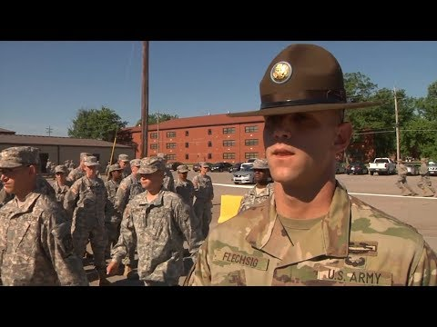 Students meet US Army Drill Sergeant - ROTC Cadet Summer Training Fort Knox