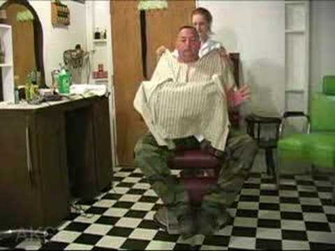 barberette - Find the full video at www.haircuttingfun.com The barber shaves her nape, face, and eyebrows. The barberette shaves his nape and face. A fun video with a story.