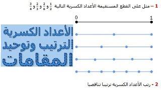 الرياضيات السادسة إبتدائي - الأعداد الكسرية الترتيب وتوحيد المقامات تمرين 7