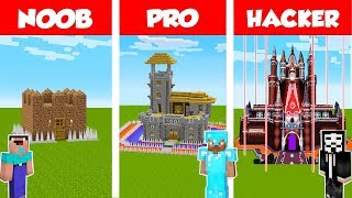 Minecraft NOOB vs PRO vs HACKER: SAFEST CASTLE BASE CHALLENGE in Minecraft / Animation