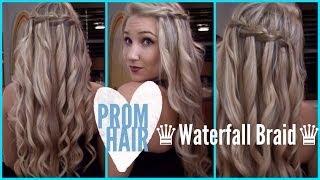 ♔ Prom Hair ♔ | How To: Waterfall Braid - YouTube
