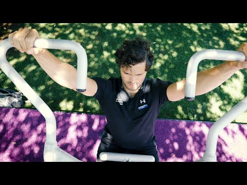 YouTube placeholder image shows man using outdoor gym equipment.
