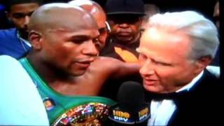 "Floyd ""Money"" Mayweather vs old HBO announcer Larry Merchant after Victor Ortiz fight"