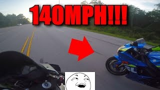 6. 2008 CBR600RR vs 2015 GSXR 750  and FIST BUMPS!!
