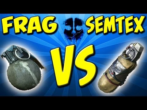 frag vs semtex - In this video I share and compare all of the important stats of the Frag grenade and the Semtex in Call of Duty Ghosts. I go over the detonation time, the ti...