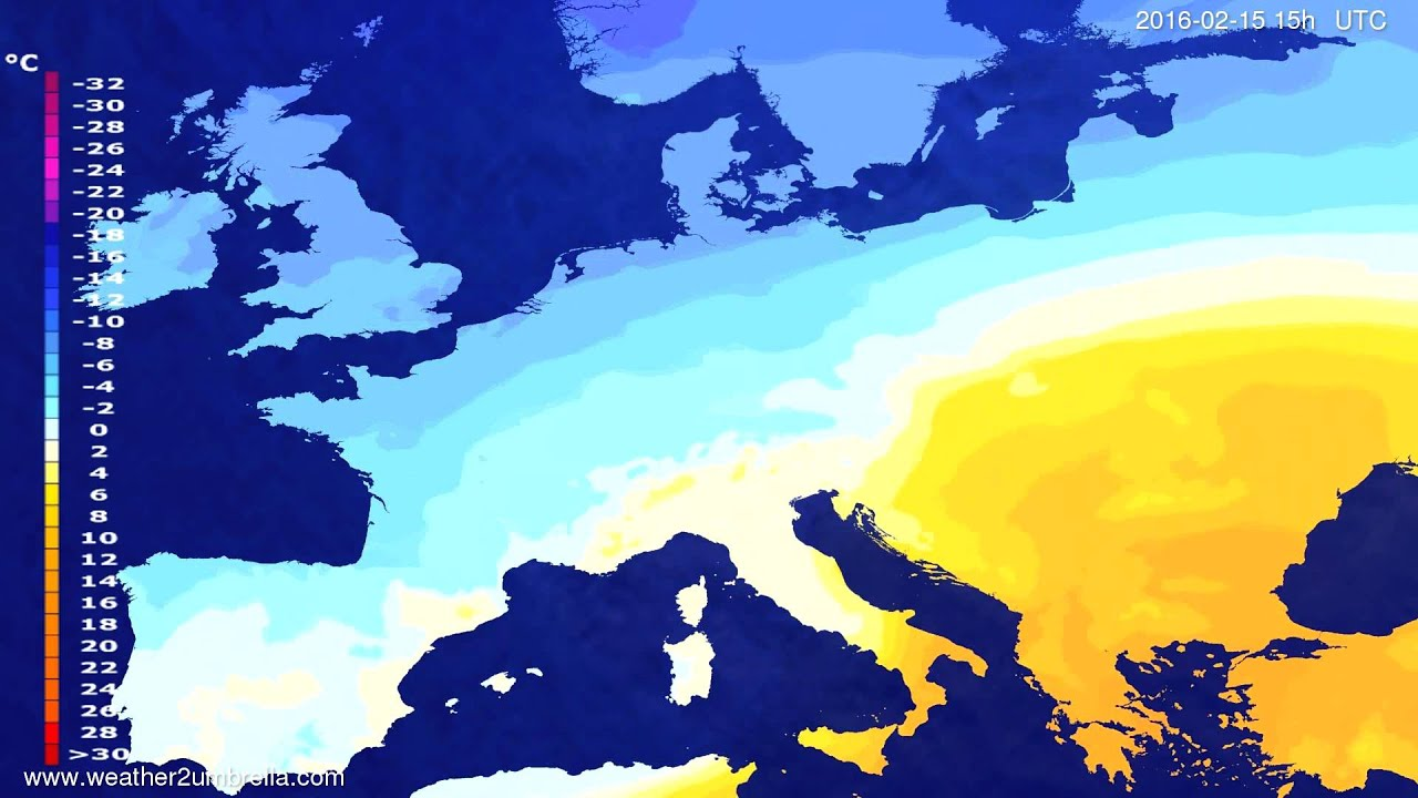 Temperature forecast Europe 2016-02-12