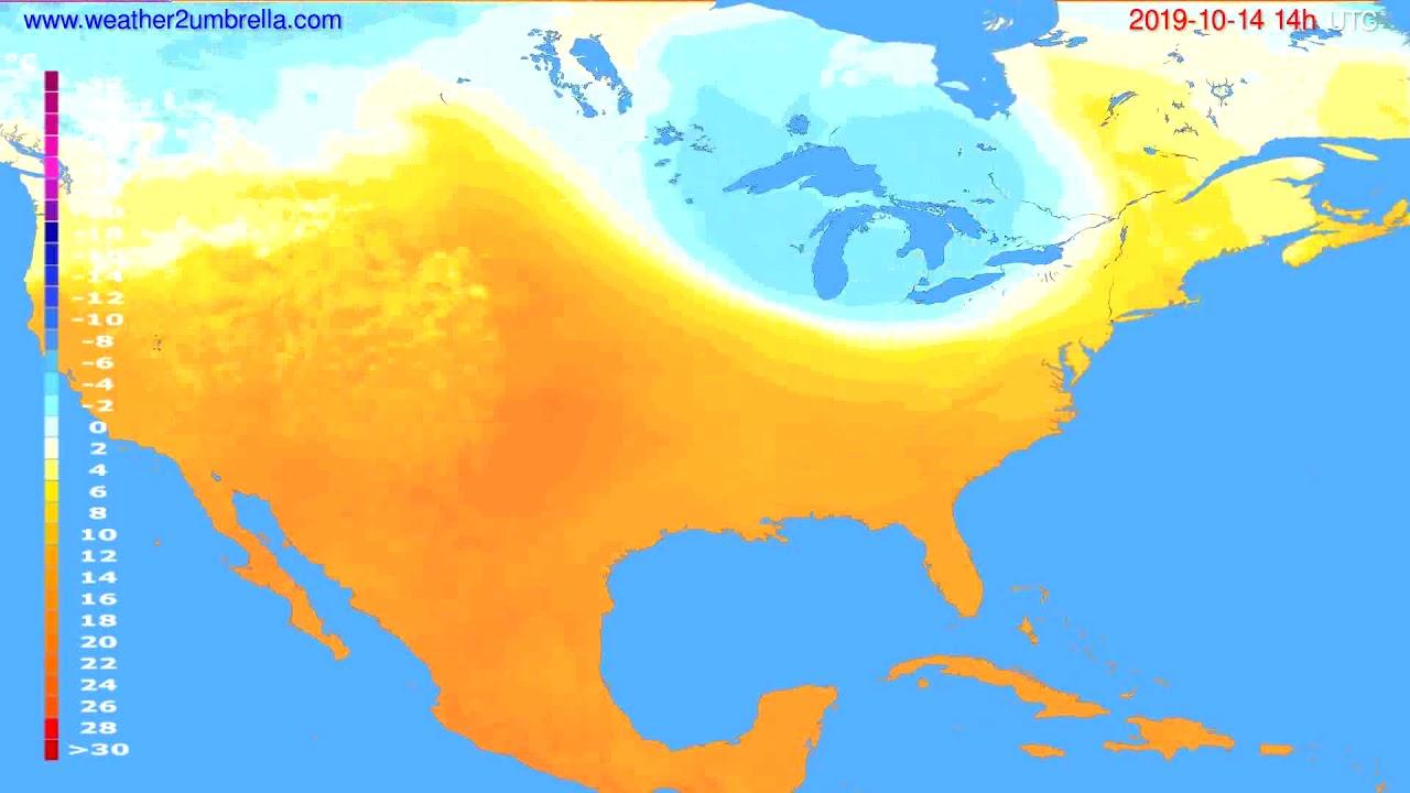 Temperature forecast USA & Canada // modelrun: 00h UTC 2019-10-12