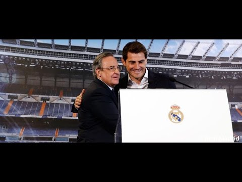 Florentino Pérez and Iker Casillas speak to the press