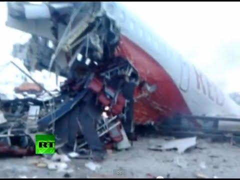 (18+) Первые минуты после крушения Ту-204 (видео)