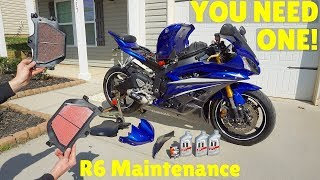 10. (06'-16') Yamaha YZF-R6 Oil and Air Filter Change