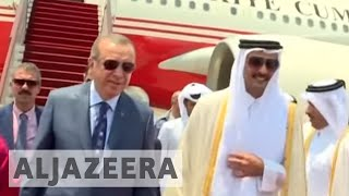 Erdogan visits Qatar to help resolve Gulf crisisTurkish President Recep Tayyip Erdogan has arrived in Qatar on the last leg of his Gulf tour that included visits to Kuwait and Saudi Arabia, aiming to help resolve a major dispute between Qatar and its neighbours. Qatar's Emir Sheikh Tamim bin Hamad Al Thani on Monday greeted Erdogan at the airport in Doha ahead of their first face-to-face talks on the Gulf crisis. Al Jazeera's Osama Bin Javaid reports from Doha.- Subscribe to our channel: http://aje.io/AJSubscribe- Follow us on Twitter: https://twitter.com/AJEnglish- Find us on Facebook: https://www.facebook.com/aljazeera- Check our website: http://www.aljazeera.com/