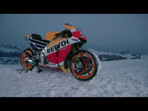 Riding a MotoGP Bike in the Snow Covered Alps