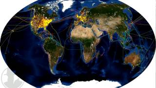 Video displays a world map of the number of DNSChanger infections per hour for the period 01/01/2012 to 03/31/2012.