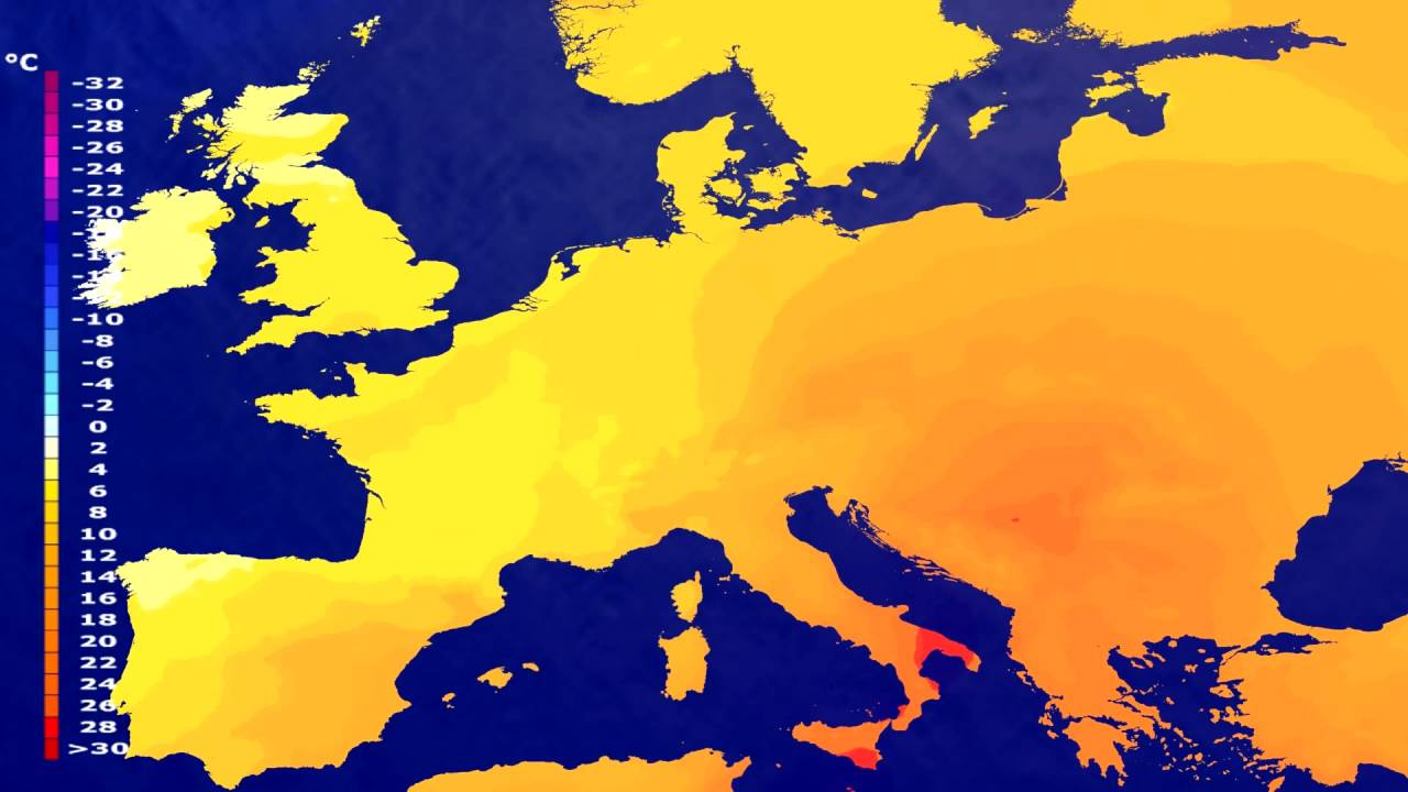 Temperature forecast Europe 2016-06-13