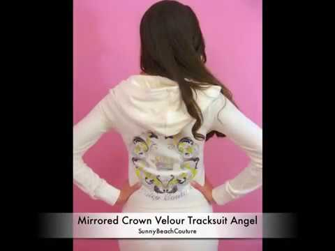 Juicy Couture Velour Tracksuit Mirrored Crown Logo Hoodie and Pants