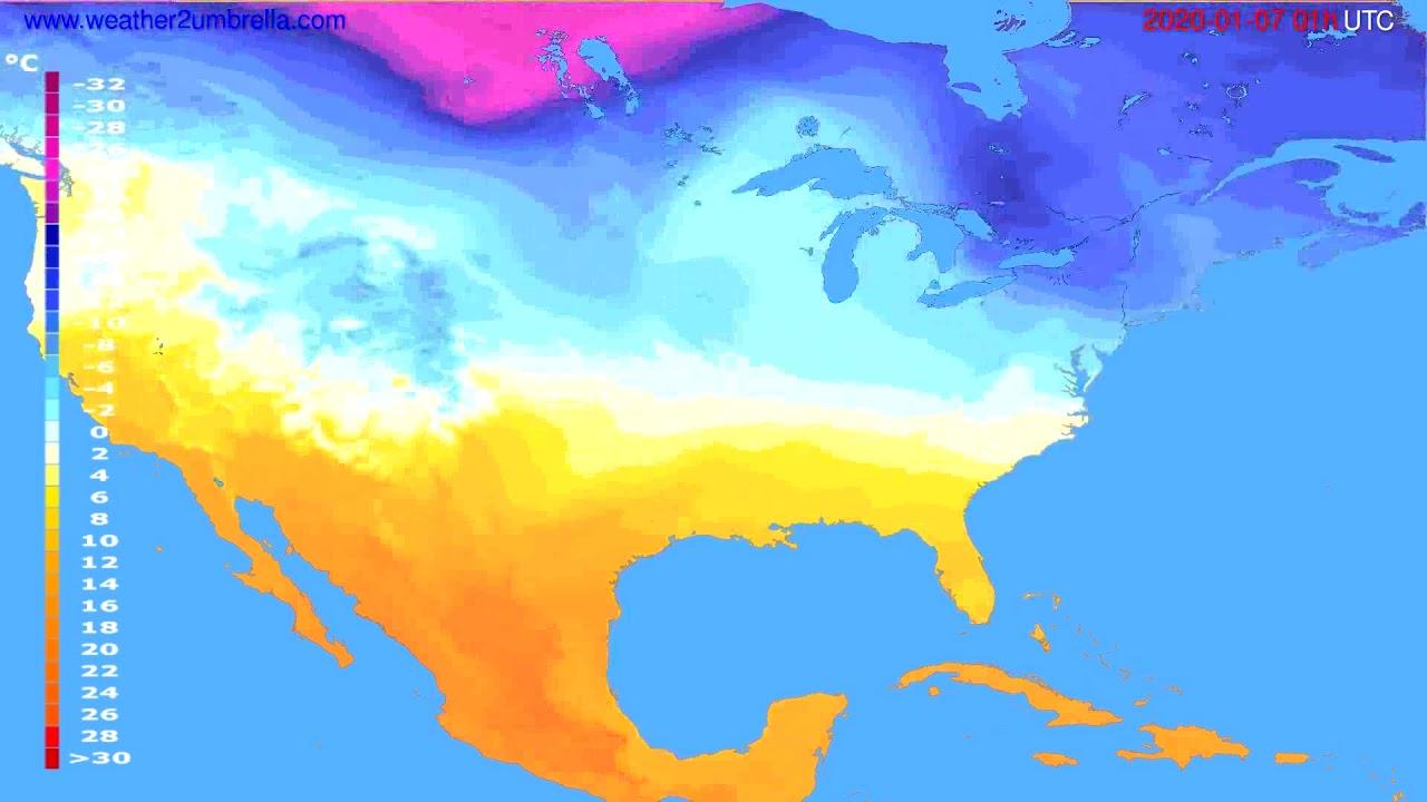 Temperature forecast USA & Canada // modelrun: 12h UTC 2020-01-05