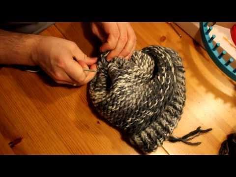 Mütze mit Strickrahmen stricken Teil 05/06: Abketten abschließen