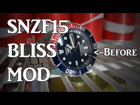 Seiko SNZF15 BLISS Mod - Hardlex to AR Coated Sapphire Dome, Bezel Insert, Strap + Surprise!