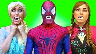 Spiderman & Frozen Elsa VS VAMPIRE FIGHT! Joker Banana Prank Fail - Funny Superheroes in real life