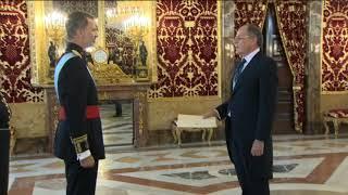S.M. el Rey, con el nuevo embajador de Montenegro tras entregar cartas credenciales
