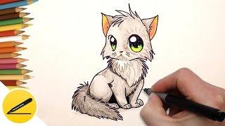 Видео: как легко нарисовать аниме котенка