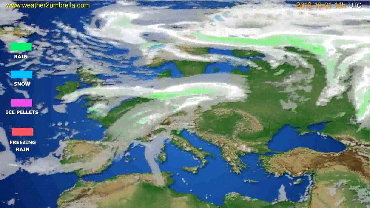 Precipitation forecast Europe // modelrun: 00h UTC 2019-09-29