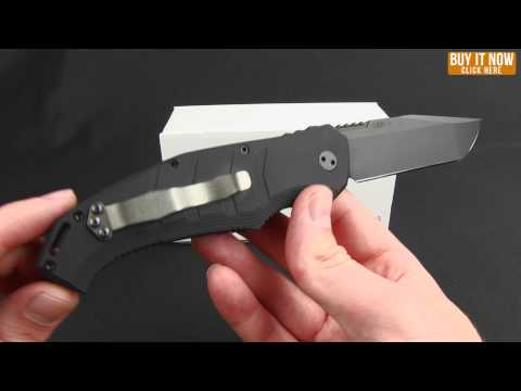 "Koenig Knives Atrox Automatic Knife Black Aluminum (4"" Two-Tone) Polished flats"