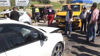 حادث سير واصابات متوسطة على مدخل قرية الراس جنوب طولكرم