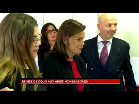 H.S.H. Princess Stéphanie hands out parcels to Monaco's elderly