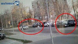 Seba skasował 6 aut za jednym zamachem. Nagranie z monitoringu w Łomży