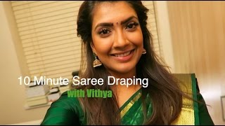 XxX Hot Indian SeX 10 Minute Saree Draping With Vithya .3gp mp4 Tamil Video