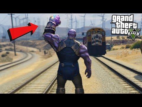 THANOS DESTROYS TRAIN w/ INFINITY - GTA 5 Mods (видео)