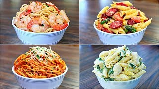 These Delicious Pasta Recipes are so easy to make, they are my go to Best pasta recipes. If you want easy pasta recipes that will get you in and out of the kitchen, then try these pasta dishes cos they are amazingly delicious. INGREDIENTS SHRIMP SCAMPI 1 1/2 lb shrimp 6 Tbs butter 3 cloves garlic 1/4 tsp red pepper flakessalt and pepper to taste 3 Tbs lemon juice (about half lemon)1 Tbs freshly chopped parsley 16 oz spaghetti pastaSAUSAGE ALFREDO PASTA 1lb smoked sausage (or your choice of sausage)2 Tbs olive oil 3 cloves garlic 1/2 cup cut up asparagus 1/2 cup cut up carrots 1/4 cup sun dried tomatoes salt and pepper to taste 1 cup heavy cream 16 oz Pene Pasta 1/2 cup parmesan cheese  SPAGHETTI AND MEAT 2 Tbs olive oil 1 medium onion1 1/2 lb ground beef salt and pepper to taste 24 oz pasta sauce 1/4 tsp red pepper flakes 1/2 cup sour cream 16 oz spaghetti Creamy Chicken and Spinach Pasta 2 Tbs olive oil 2 chicken breasts salt and pepper to taste 9 oz bag spinach 16 oz spinach 1Tbs garlic powder 1/2 cup milk 16 oz spaghetti PLS SUBSCRIBE FOR MORE VIDEOS