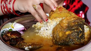Eating Fish Head & Fish Egg Cutlet With Rice | Tasty Indian Food | Eating Video