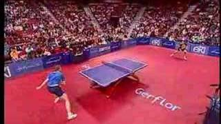 HERE'S THE REASON WHY HE DOESN'T TAP IT IN: J.O. Waldner and J. Persson play one of the best points ever. In several...