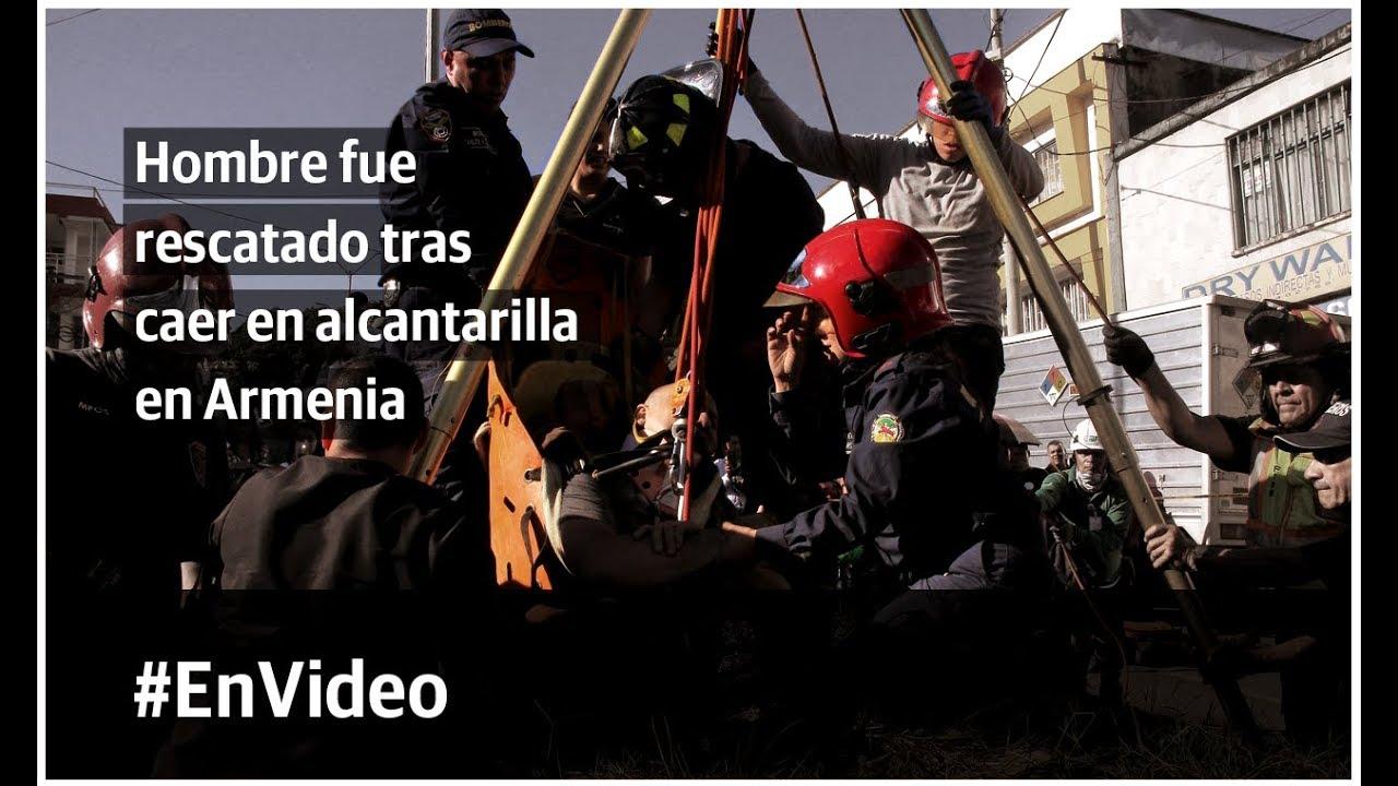 Hombre fue rescatado tras caer en alcantarilla en Armenia
